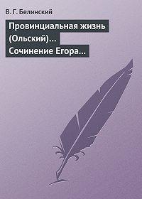 В. Г. Белинский -Провинциальная жизнь (Ольский)… Сочинение Егора Классена